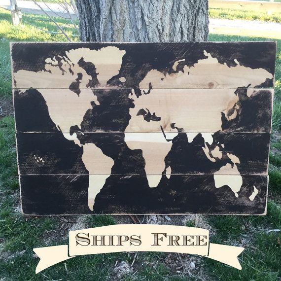 Rustic world map wedding gift pallet stained map raw wood map rustic world map wedding gift pallet stained map raw wood map world gumiabroncs Images