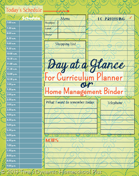 curriculum planner for homeschool day at a glance form free