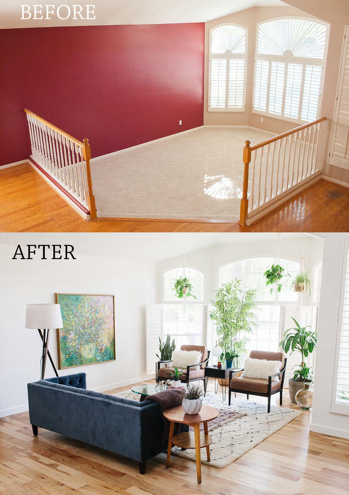 Before After Living Room Reveal Sunken Living Room Boho