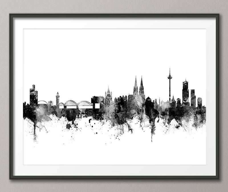 cologne skyline koln germany cityscape art print 2812 cool stuff pinterest aquarell. Black Bedroom Furniture Sets. Home Design Ideas
