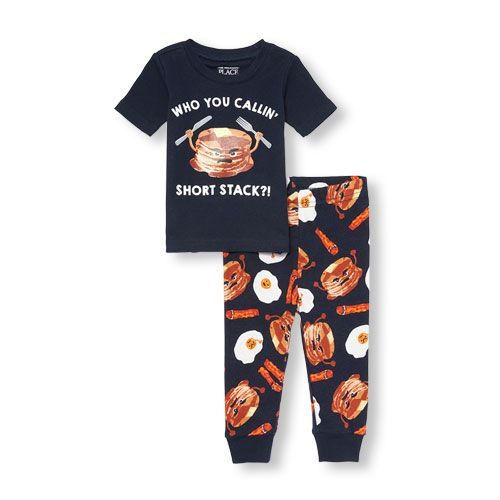 db25cc815 Baby And Toddler Boys Short Sleeve 'Who You Callin' Short Stack' Top And  Breakfast Printed Pants Snug-Fit Pj Set