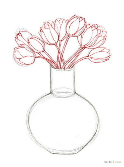 Vase Of Flowers Drawing Pinterest Drawing Flowers