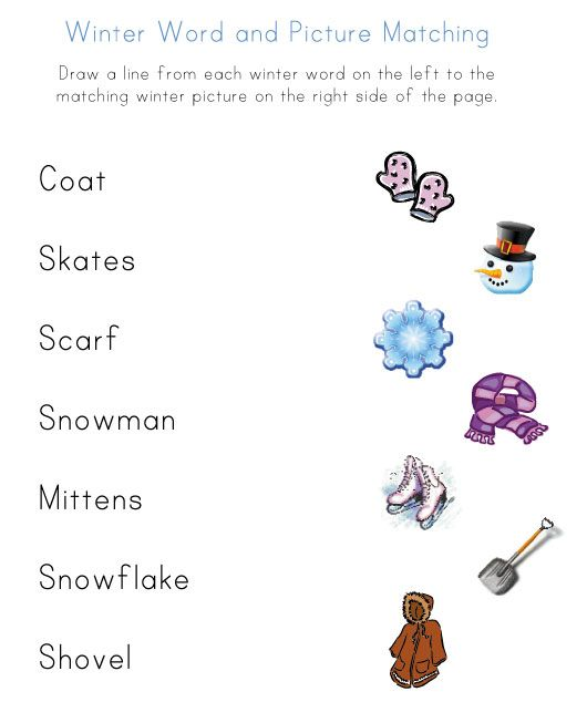 Winter Word Search Kindergarten Printable: Printable Winter Word To Picture Matching Worksheet (With