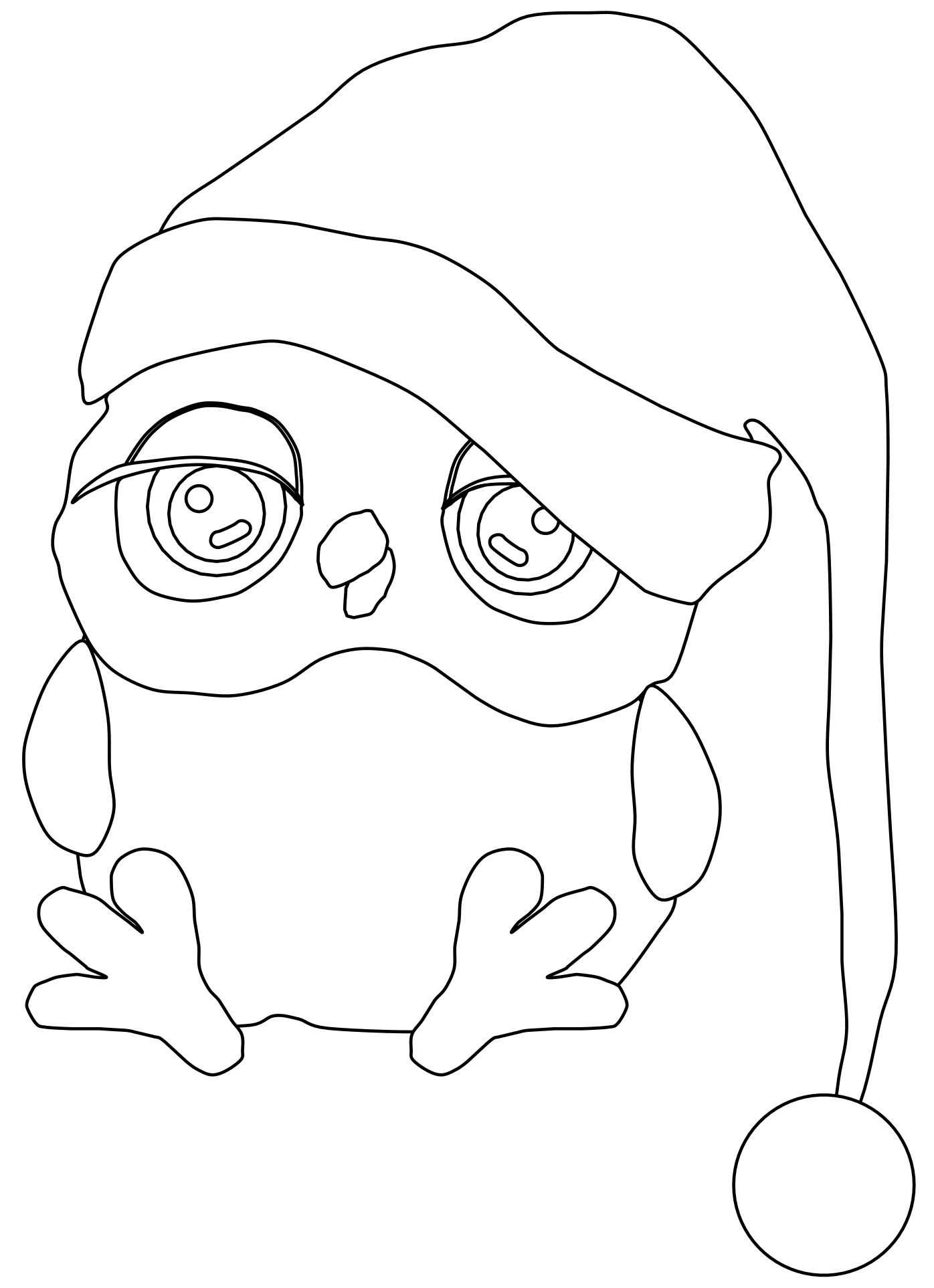 cool Cartoon Owls Cute Christmas Night Sleep Coloring Page ...