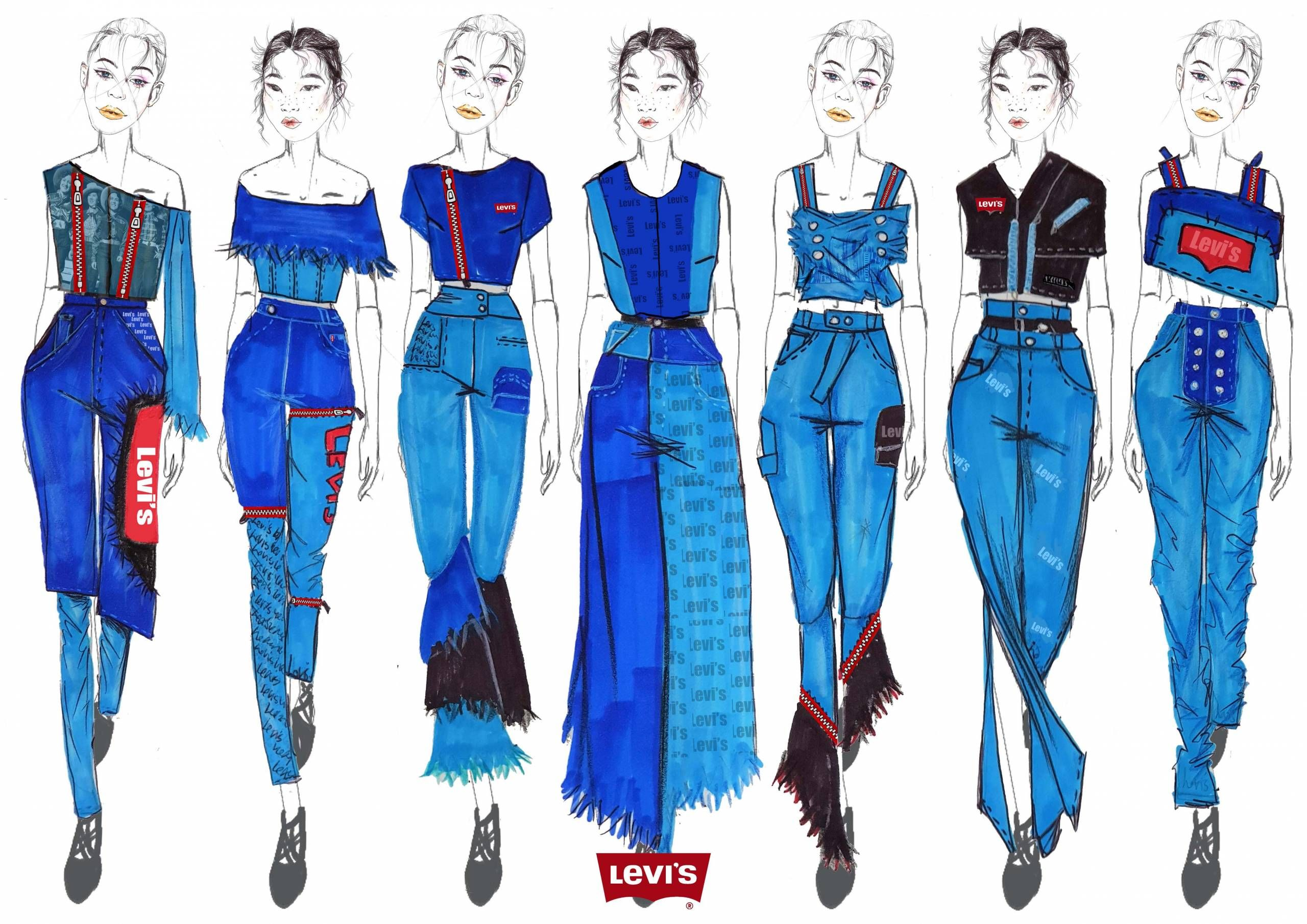 Levi S Engineered Jeans Design Competition 2018 Siwar Dridi Fashion Artwork Fashion Fashion Portfolio Layout