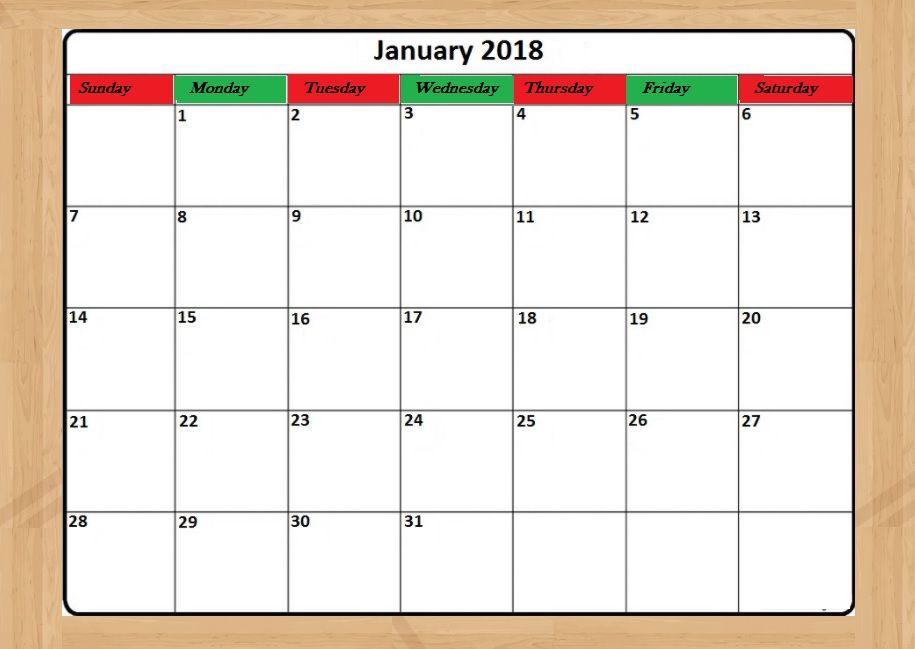 Fillable Calendar January 2018 MaxCalendars Pinterest January