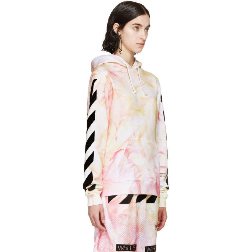 67b41ecb8942 Off-White - SSENSE Exclusive Pink   Yellow Tie-Dye Hoodie