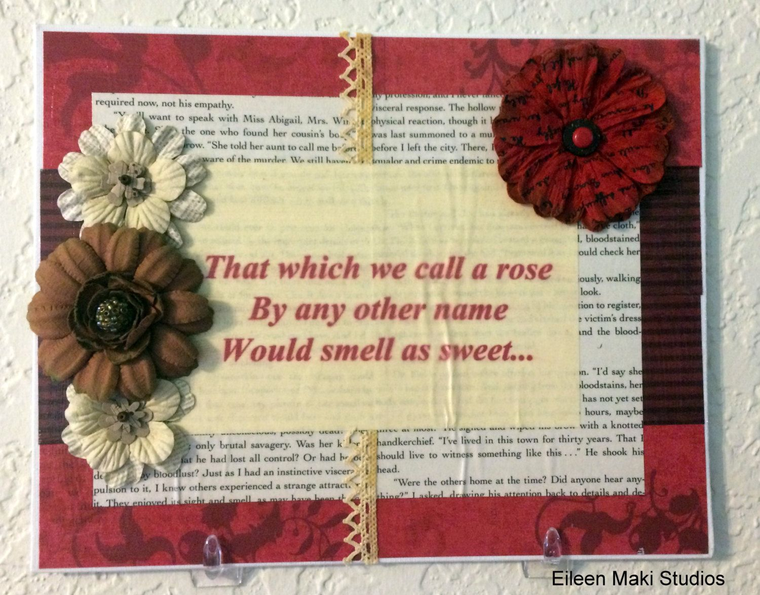 Mixed Media Shakespeare Quote Canvas Flower Artwork - Handmade - Pop ...