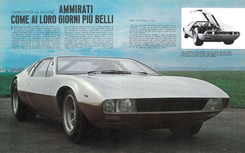 """Ghia De Tomaso """"5 litri"""" . La """"Mangusta"""" un prototipo di berlinetta soportiva due posti. La più ammirata al Salone dei Carrozzieri"""