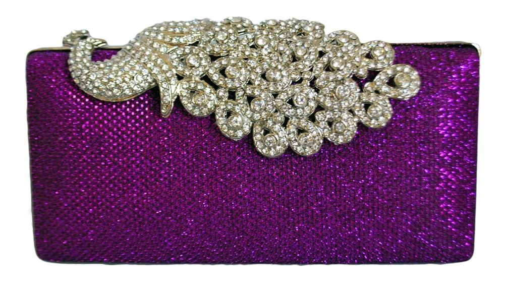 Mesh Rhinestone Peacock Hard Box Clutch, with extendable chain string inside.