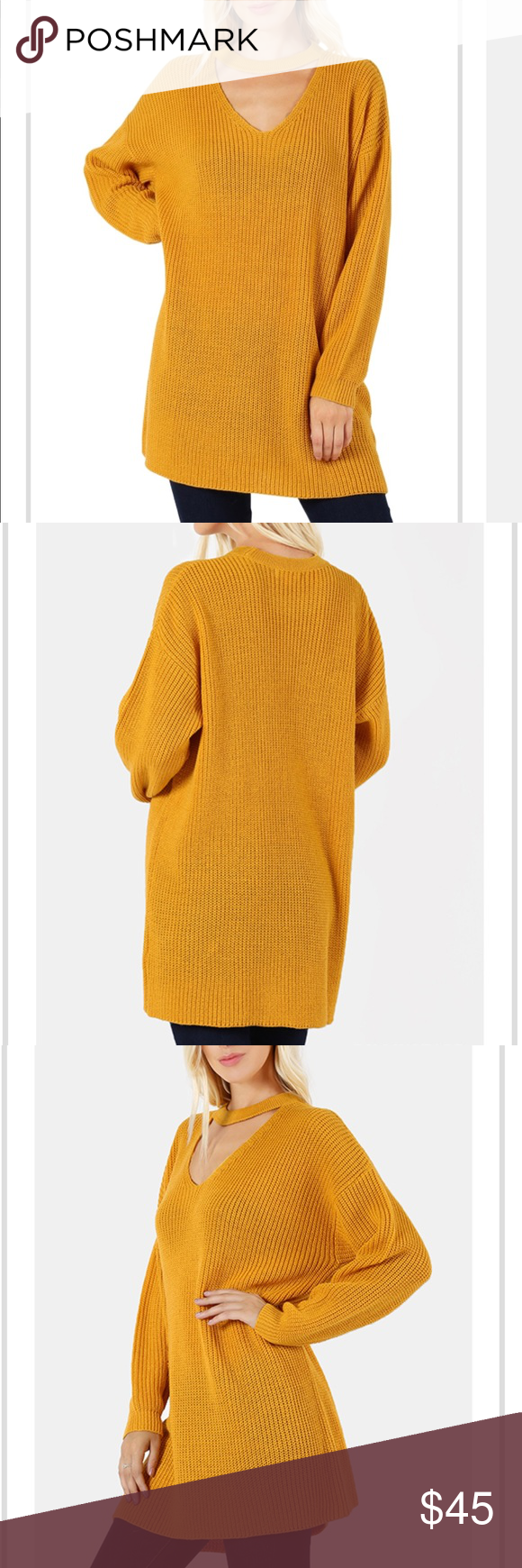 Oversized V-neck Choker Tunic Sweater Mustard Boutique | Neck ...