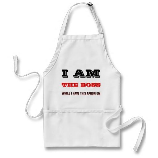 "Unique, trendy, fashionable, cute and funny apron with humorous ""I AM THE BOSS while I have this apron on"" text. Fun and original gift for the worlds best bbq chef, the self proclaimed barbecue king or queen, the male or female grill master who has humor, your husband or wife who enjoys a joke, the kitchen chef with an attitude, or the not so perfect cook. Great and cool birthday or Christmas present for the grilling, cooking or coolest dad's or mom's birthday, or Father's or Mother's day."