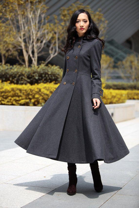 ruffle coat gray coat hooded coat womens coat Coat dress wool coat Made to order trench coat handmade coat  1369# long coat