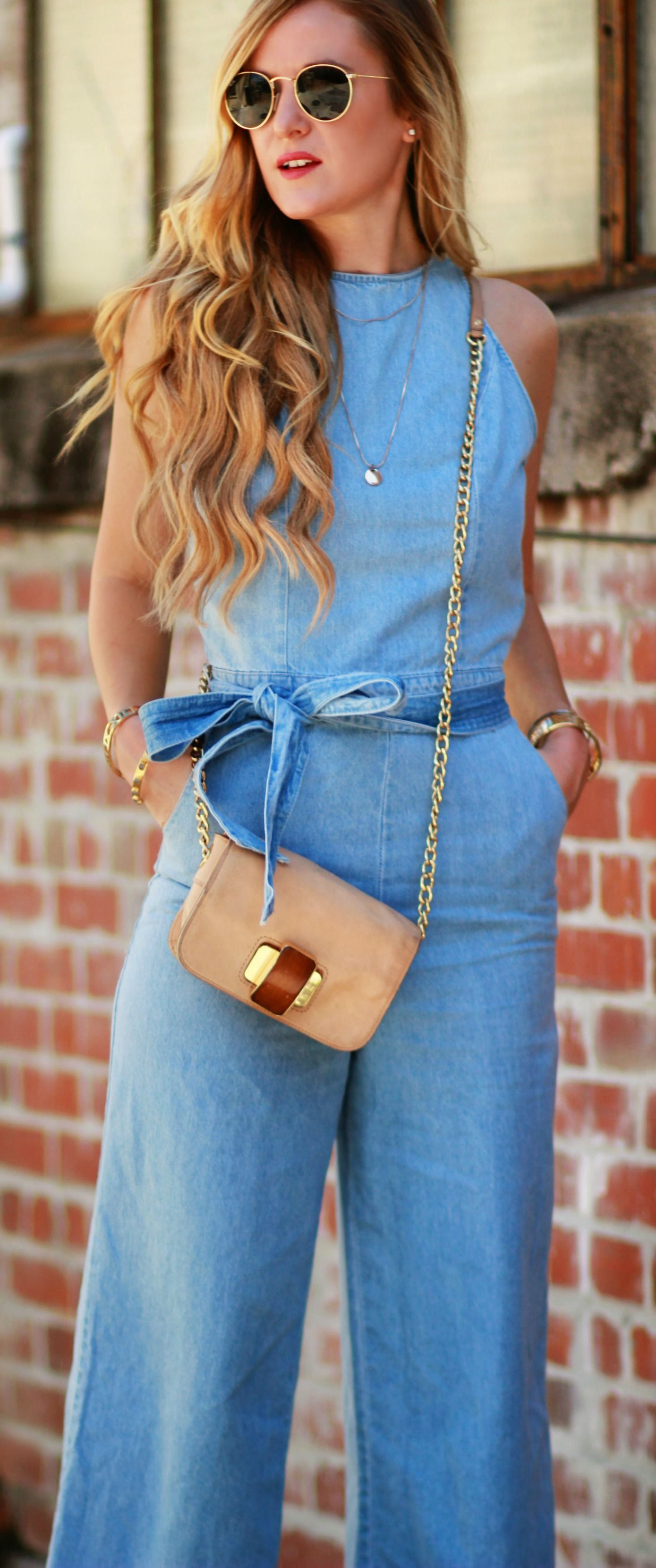 9cf87ae468d Florida fashion blogger styles a 70s inspired outfit with a denim culotte  jumpsuit