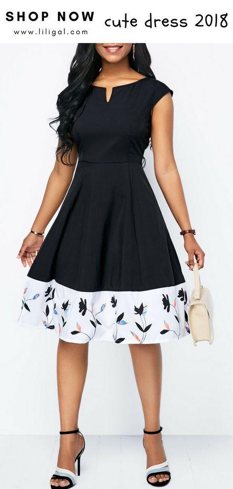 Printed Cap Sleeve Split Neck A Line Dress | Lady In Black & White ...