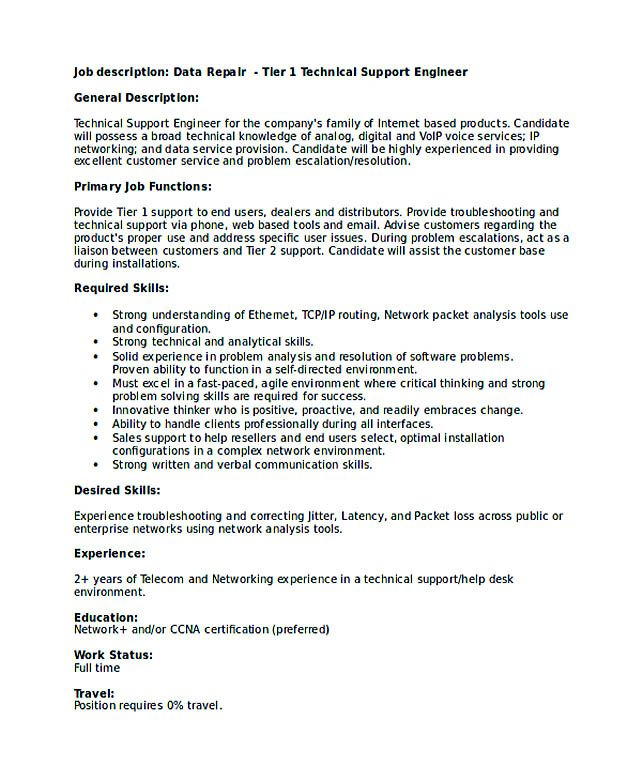 Technical Support Engineer Resume  Good Teachers Resume Format