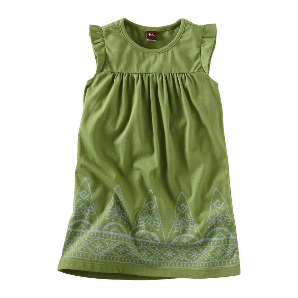 Jaya is Sanskrit for victor and Jaya Peak is the tallest mountain in Indonesia. The spiky peaks that create the border print of this knit playdress have little butterflies hidden inside. They're mini and mighty just like you. Imported.