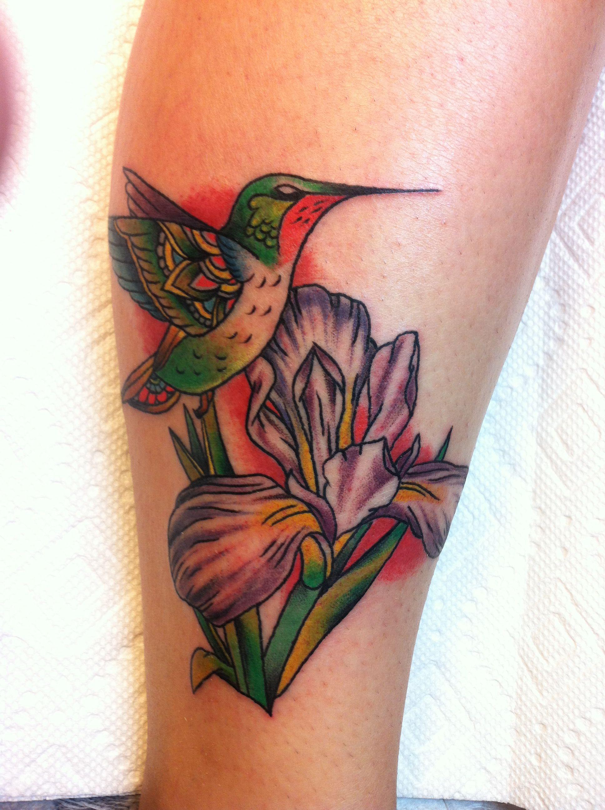 My awesome hummingbird and iris tattoo love it tattoos my awesome hummingbird and iris tattoo love it izmirmasajfo Images