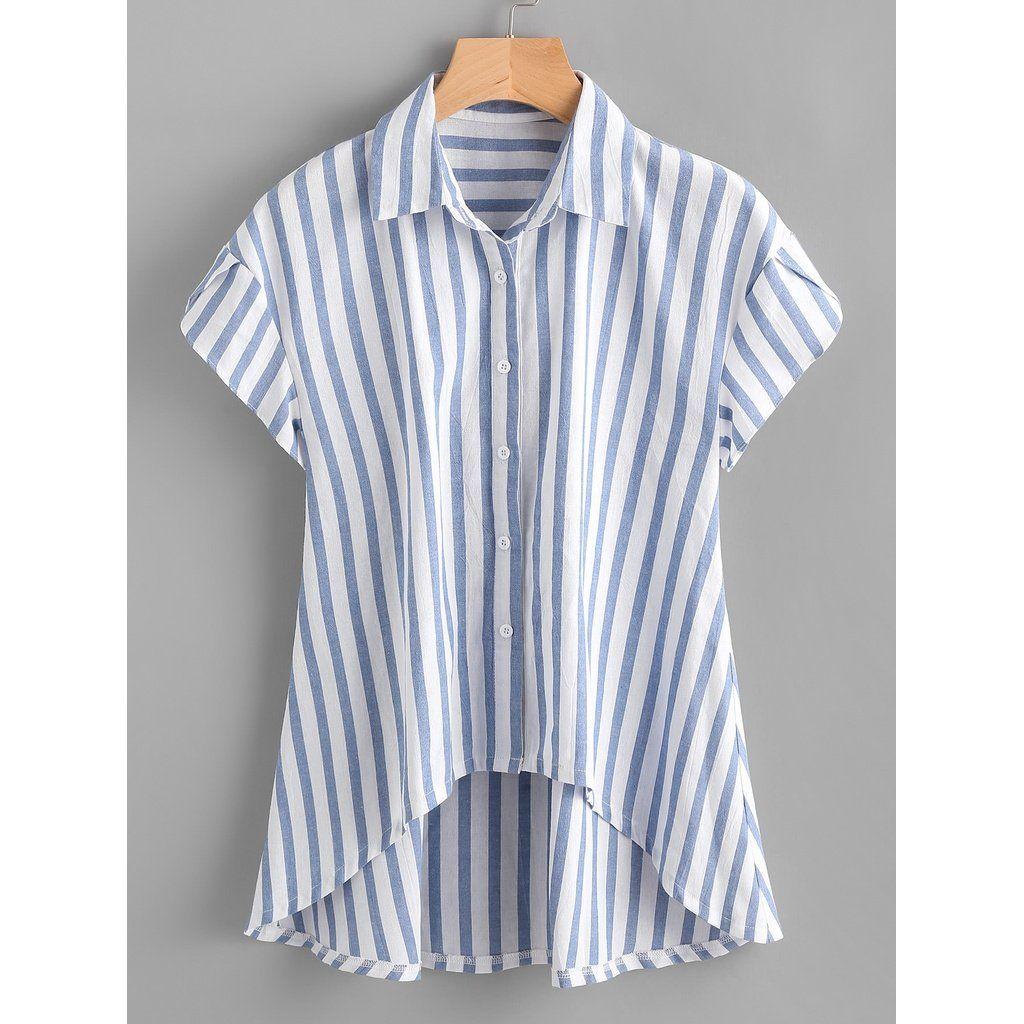934c086464528a Contrast Striped Petal Sleeve Dip Hem Shirt