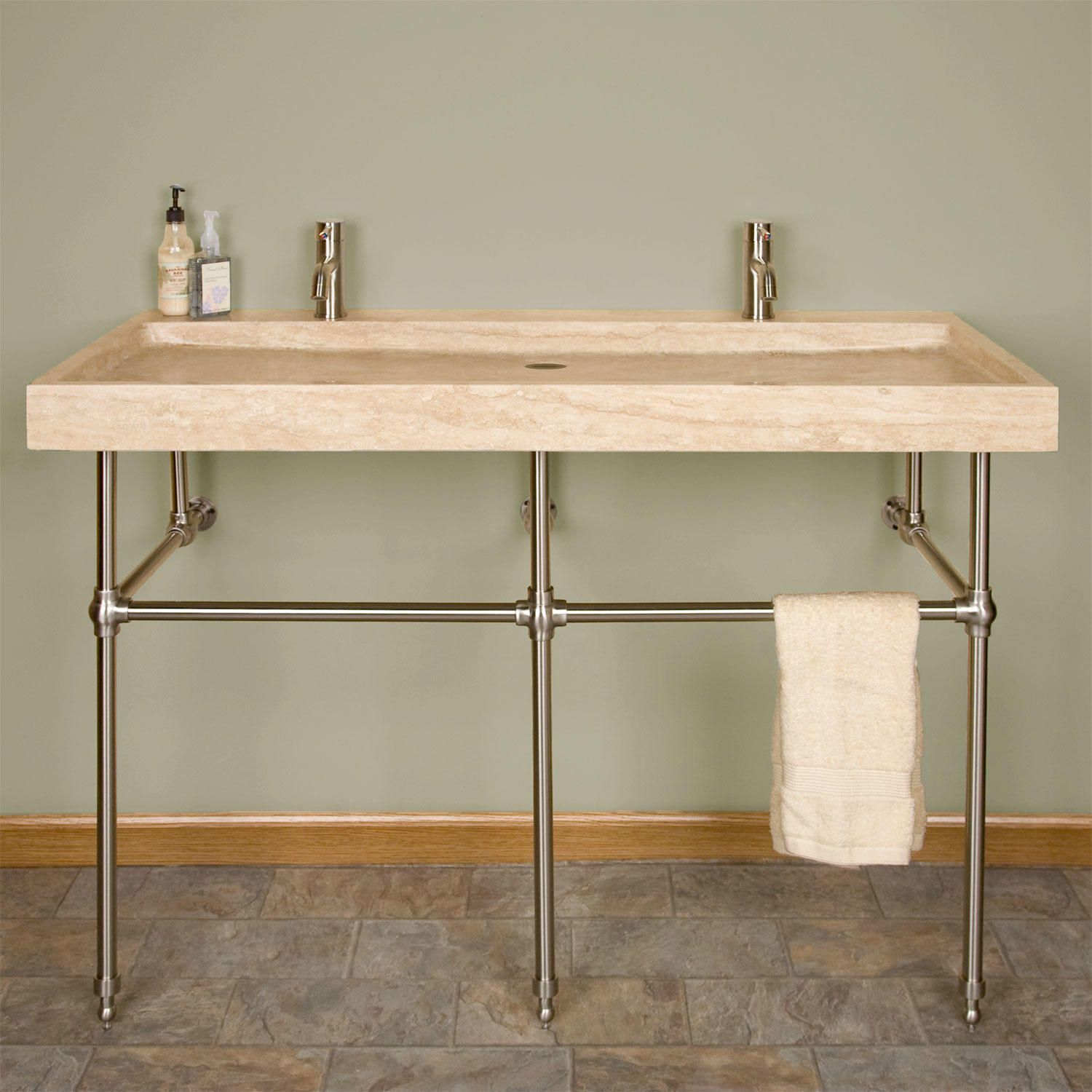 Mason Porcelain Console Sink with Brass Stand Sinks Consoles