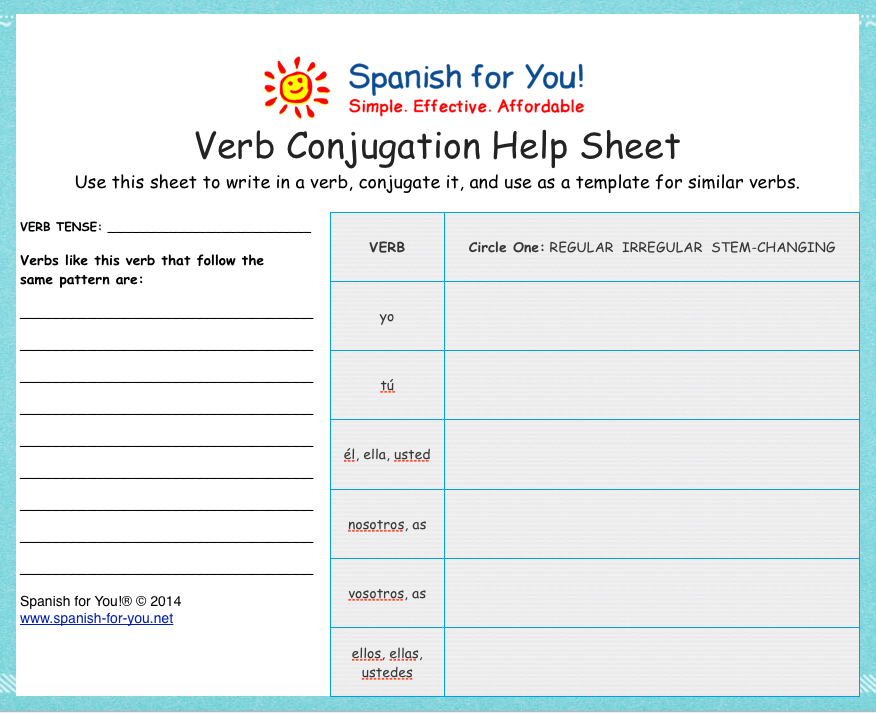 Free Spanish Verb Conjugation Help Sheet Spanish