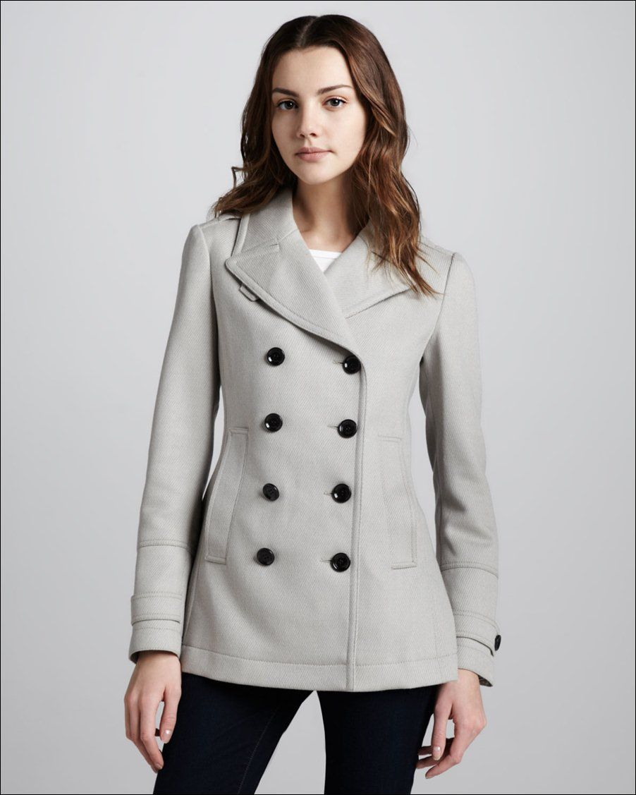 Pea Coat Female | Twill Pea Coat Light Silver for Women 376x470 ...