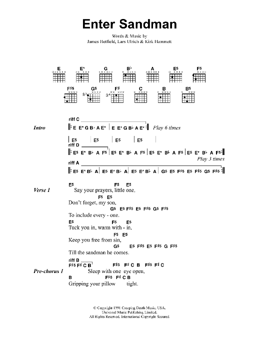 Download Guitar Chordslyrics Sheet Music To Enter Sandman By