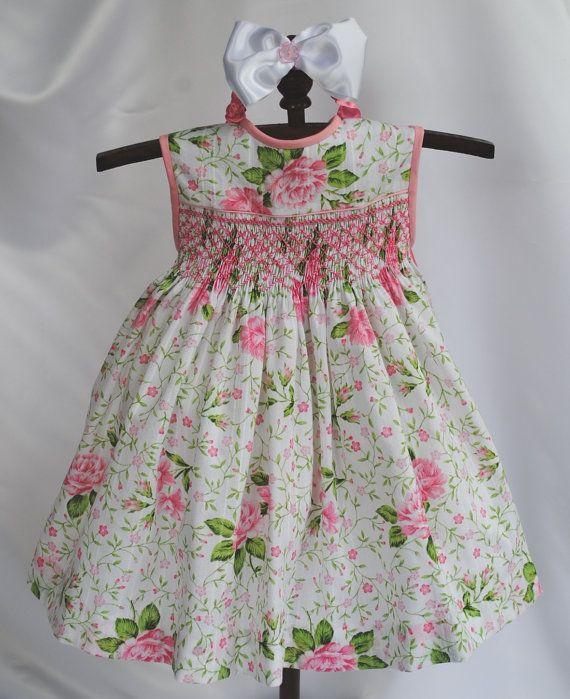98e5d7782 París rosa mano Smocked bebé vestido 6 meses último uno en Vestidos D Niña