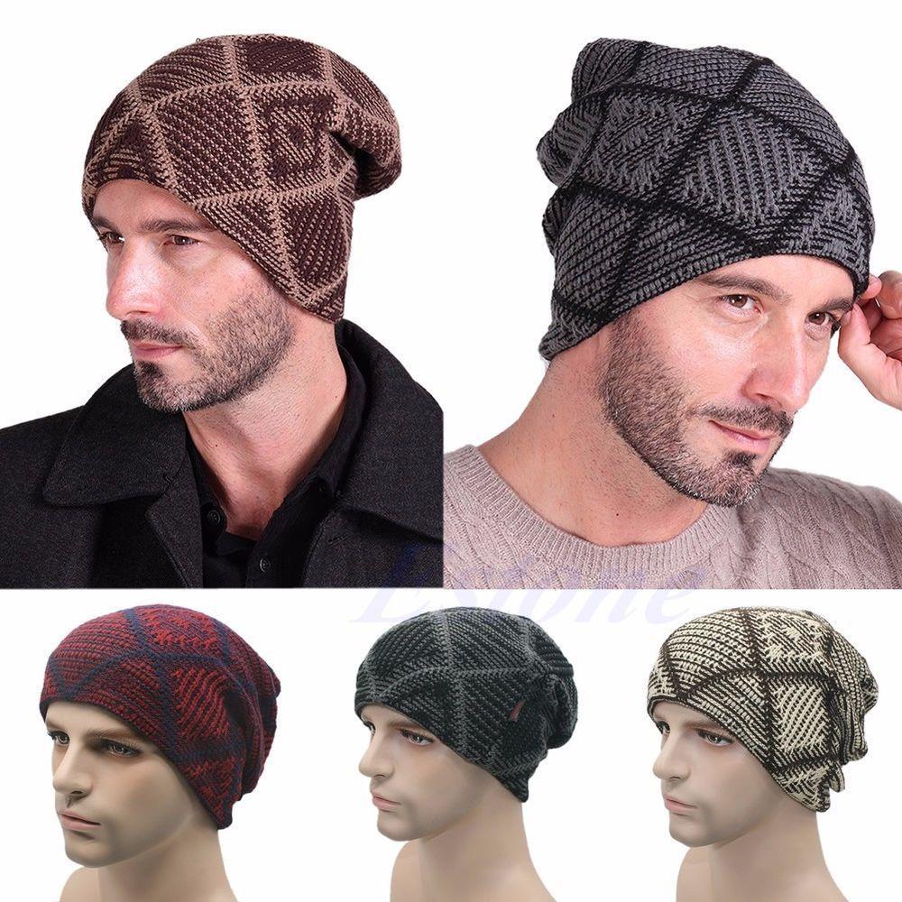4a1a9b426c Winter Warm Women Men Knit Ski Crochet Slouch Grid Cap Beanie Hip ...