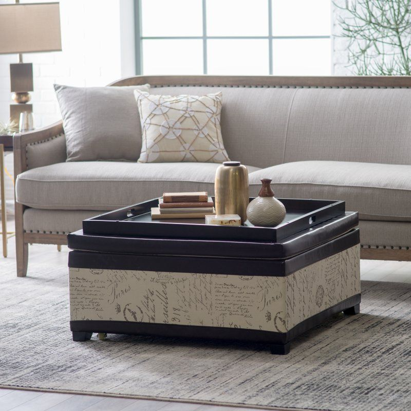 Corbett Leather And Linen Coffee Table
