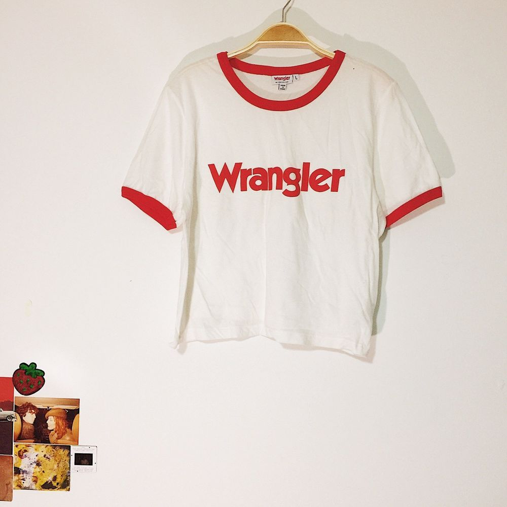9e0a3a5cc4 Wrangler For Urban Outfitters 70s Inspired Ringer Logo T-shirt White Red  Size L  Wrangler  Casual  Casual