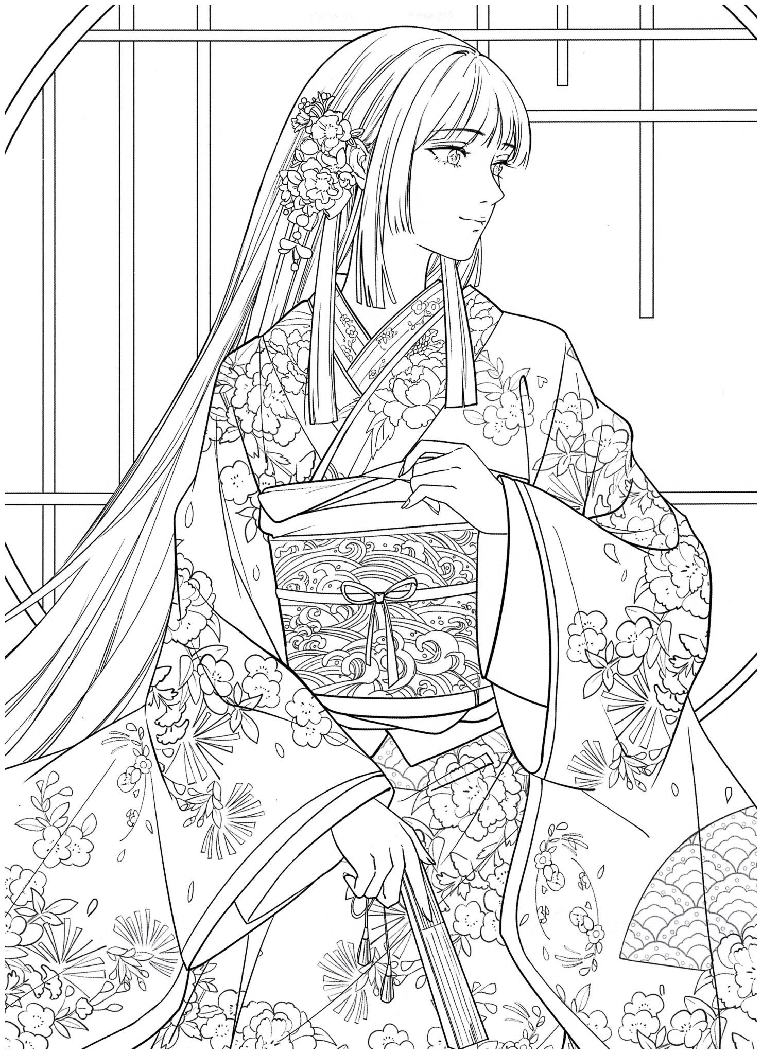 Chinese Portrait Coloring Ebook Vol 13 Floral Wedding Kayliebooks Anime Lineart Fashion Coloring Book Cute Coloring Pages [ 2048 x 1480 Pixel ]