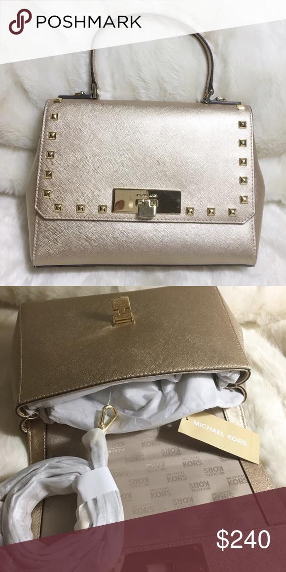 366748fba17a 'Callie' Satchel Bag by Michael Kors BNWT • Color: Pale Gold • Size: Medium  • Dimension: 7.5