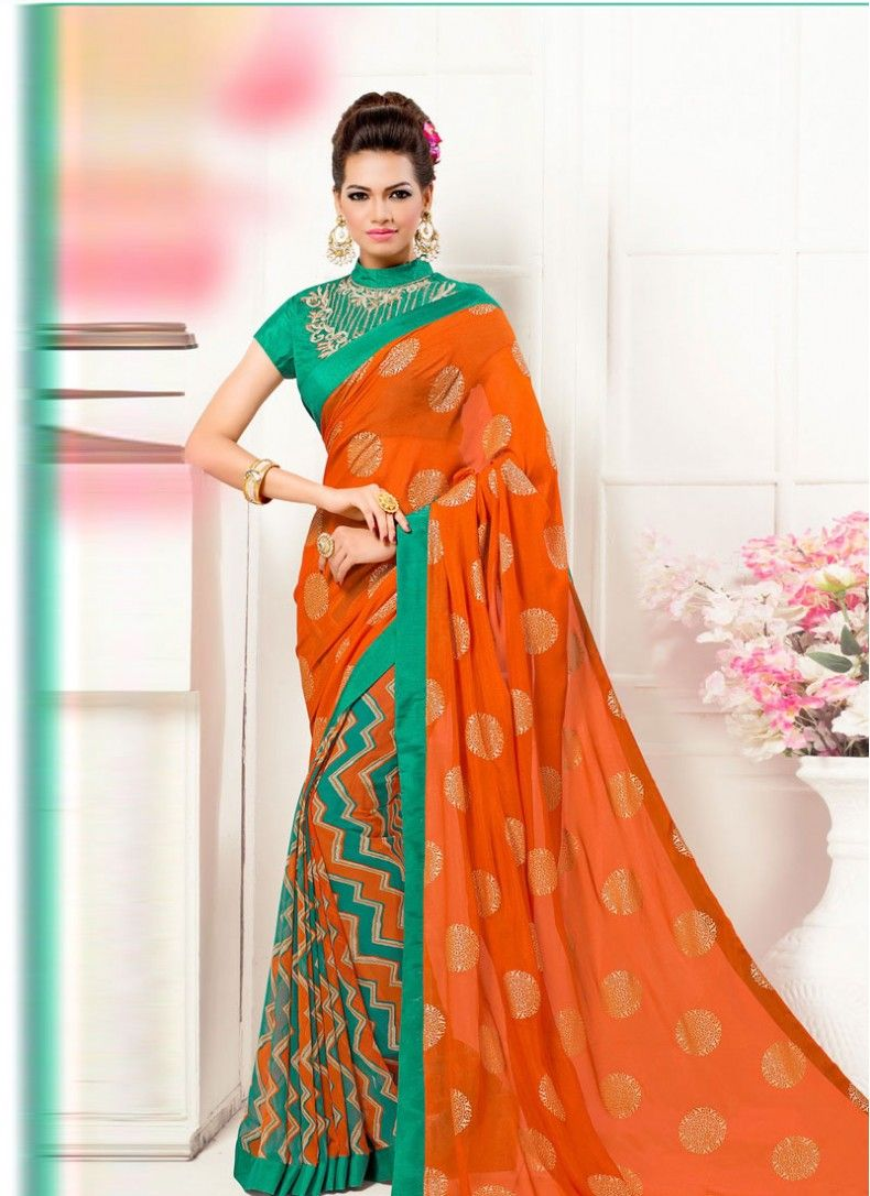 Gripping Georgette Lace Green and Orange Decent Printed Saree