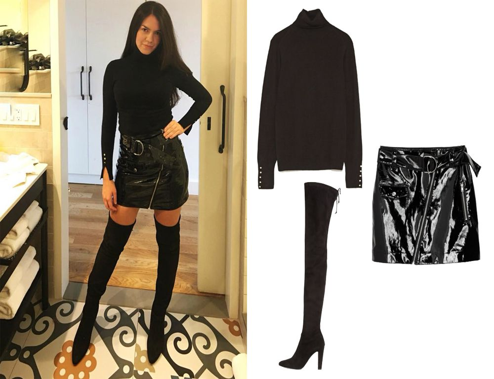 af8be1cd0a1 ... Eliana Viera. Patent Skirt and Over The Knee Boots! All Black Outfit