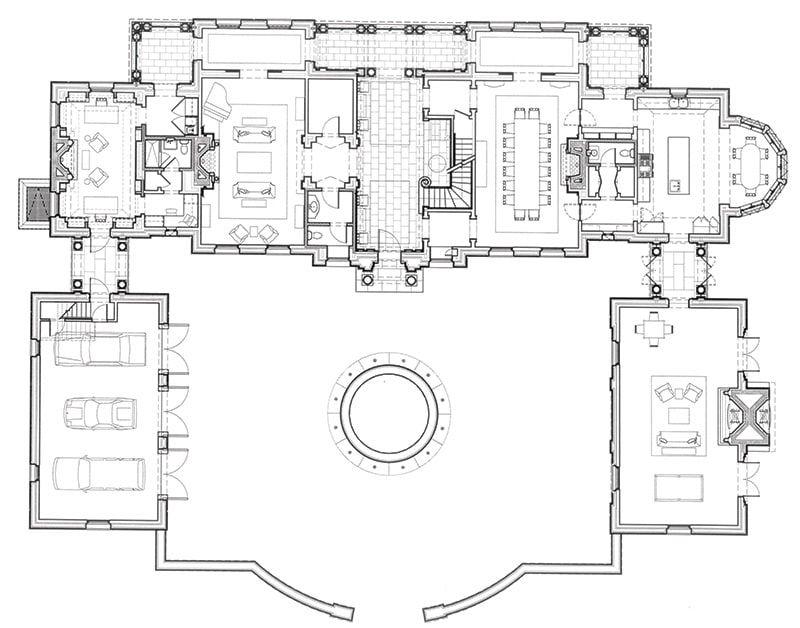 Wayside Manor American Neoclassicism Floor Plan Layout Courtyard House Plans Living Room Floor Plans