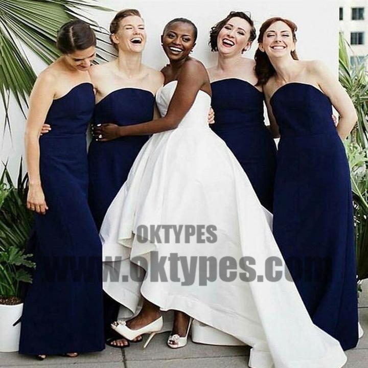 Navy Blue Sweetheart Long Bridesmaid