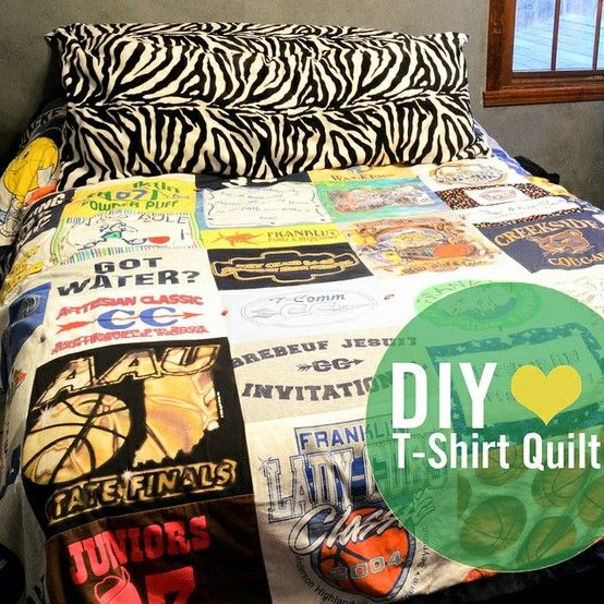 T-shirt quilt | I wanna do this but make it into a pillow from James' tattered wrestling shirts. I wonder if he'd be angry..