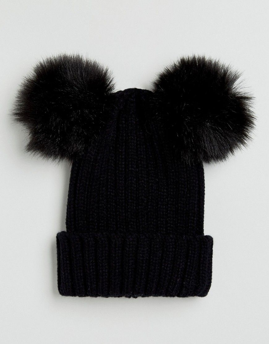 0bb8d516 My Accessories Beanie with Double Faux Fur Pom - Black | Products ...