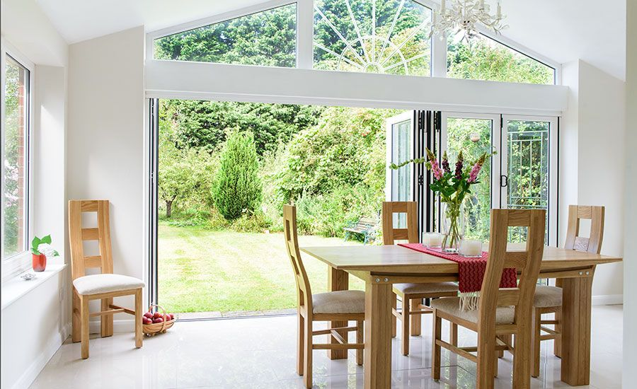 Room Garden View Through Open Bi Fold Doors