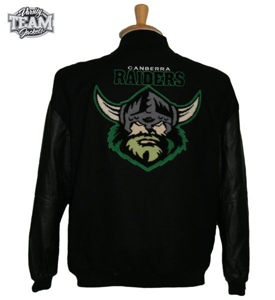 Canberra Raiders Nrl Wool Body And Leather Sleeves With Mixed Chenille And Embroidery Varsity Jacket Back By Team Varsity Varsity Jacket Jackets Leather Sleeve