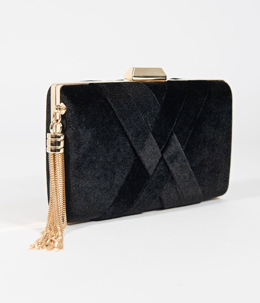 0789a5e5bbe Vintage Style Black Velvet & Gold Hard Clutch | Vintage-Inspired ...