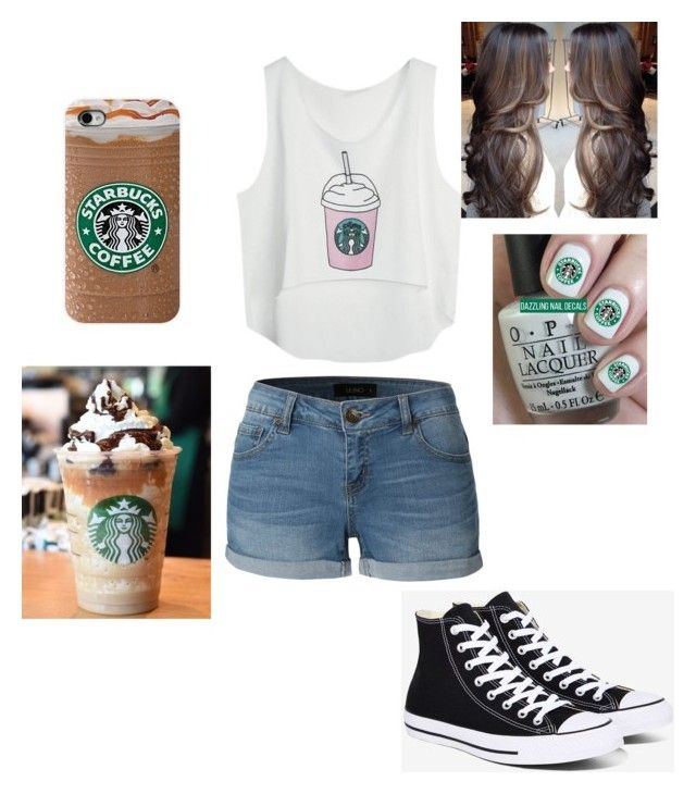 """""""#Starbucks"""" by hdflynn ❤ liked on Polyvore featuring LE3NO and Converse"""