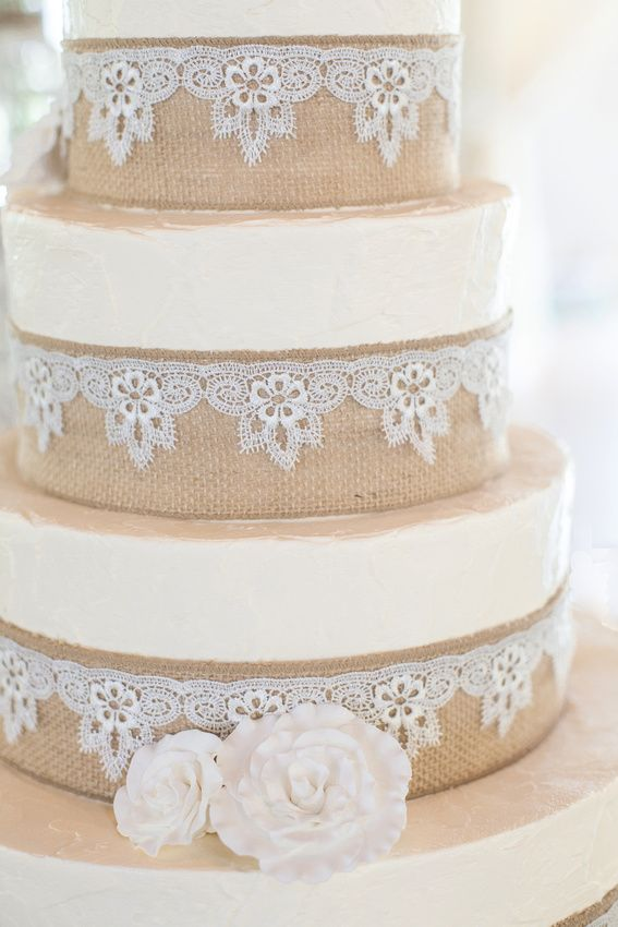 Burlap And Lace Wedding Cake Love The Lace And Flowers Would