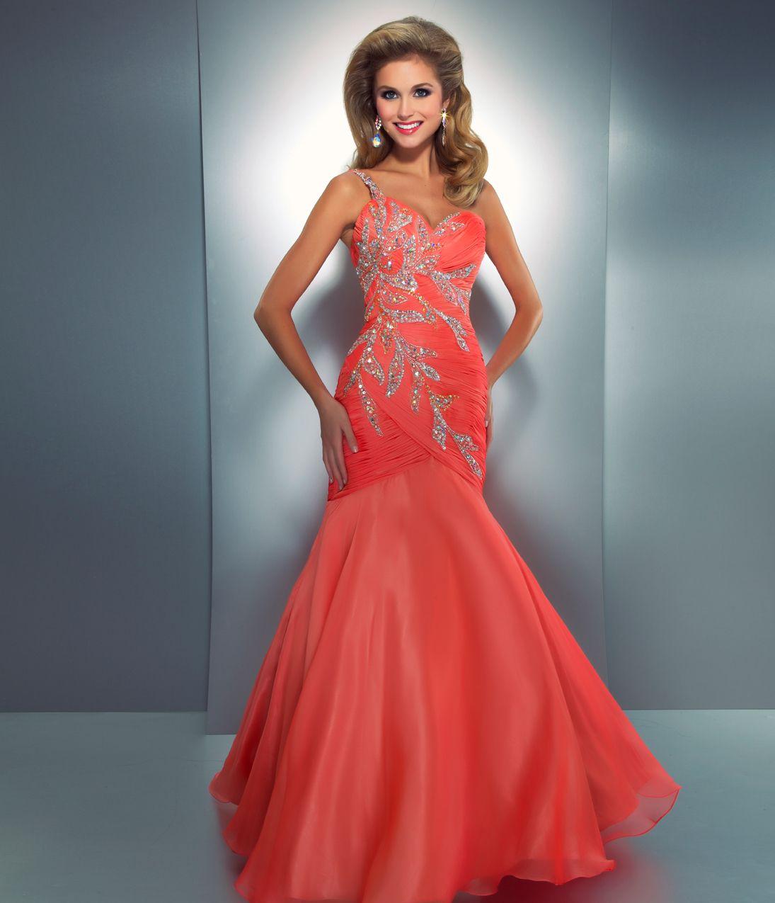 Coral mermaid long prom dress dresses pinterest long prom