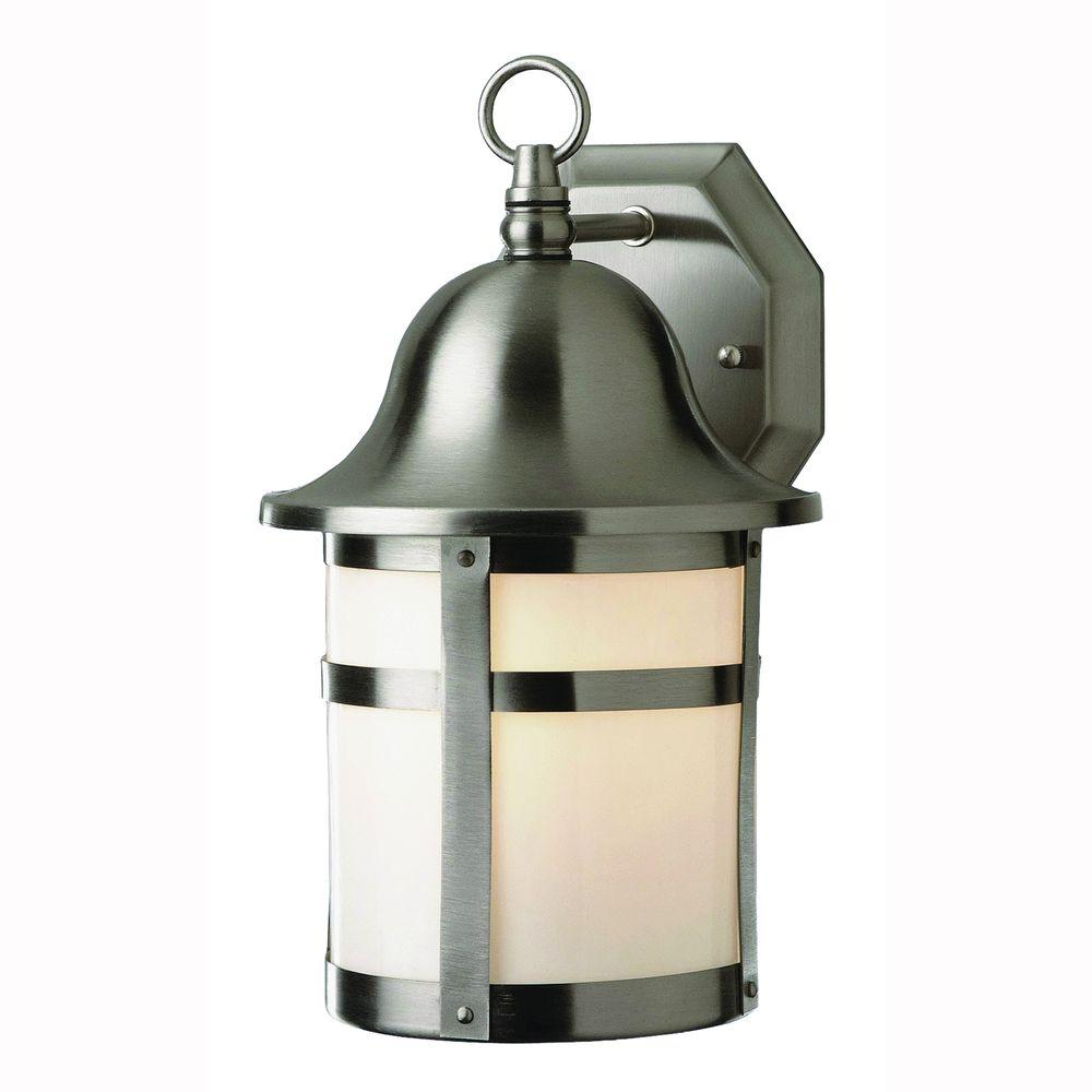 Bel Air Lighting Energy Saving 1 Light Brushed Nickel Patio Wall Lantern Sconce With Frosted Glass Pl 4580 Bn Outdoor Sconces Outdoor Wall Lantern Wall Lantern