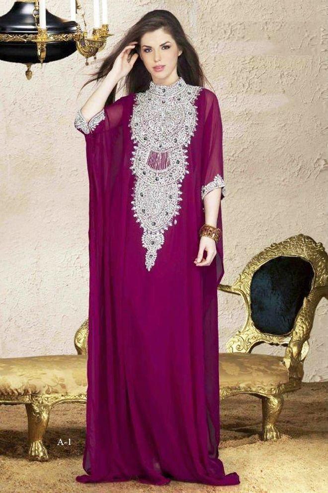 Multicolored Fancy Lace Abaya Kaftan   vestidos   Pinterest   Traje ...