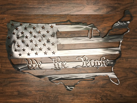 f43e1285531c We the People American Flag States Outline Metal Art Sign USA ...