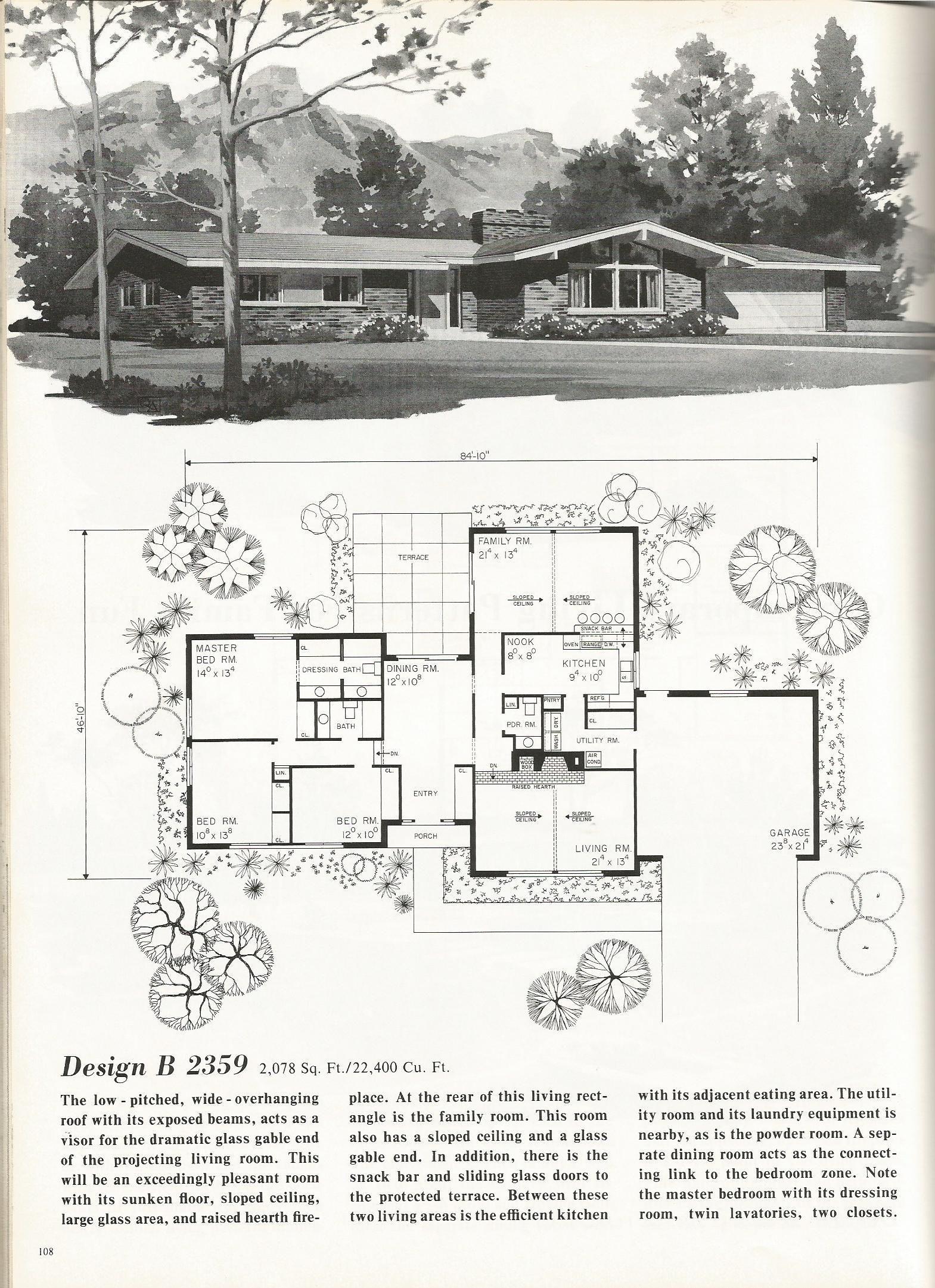vintage house plans 2000 square feet mid century homes mid