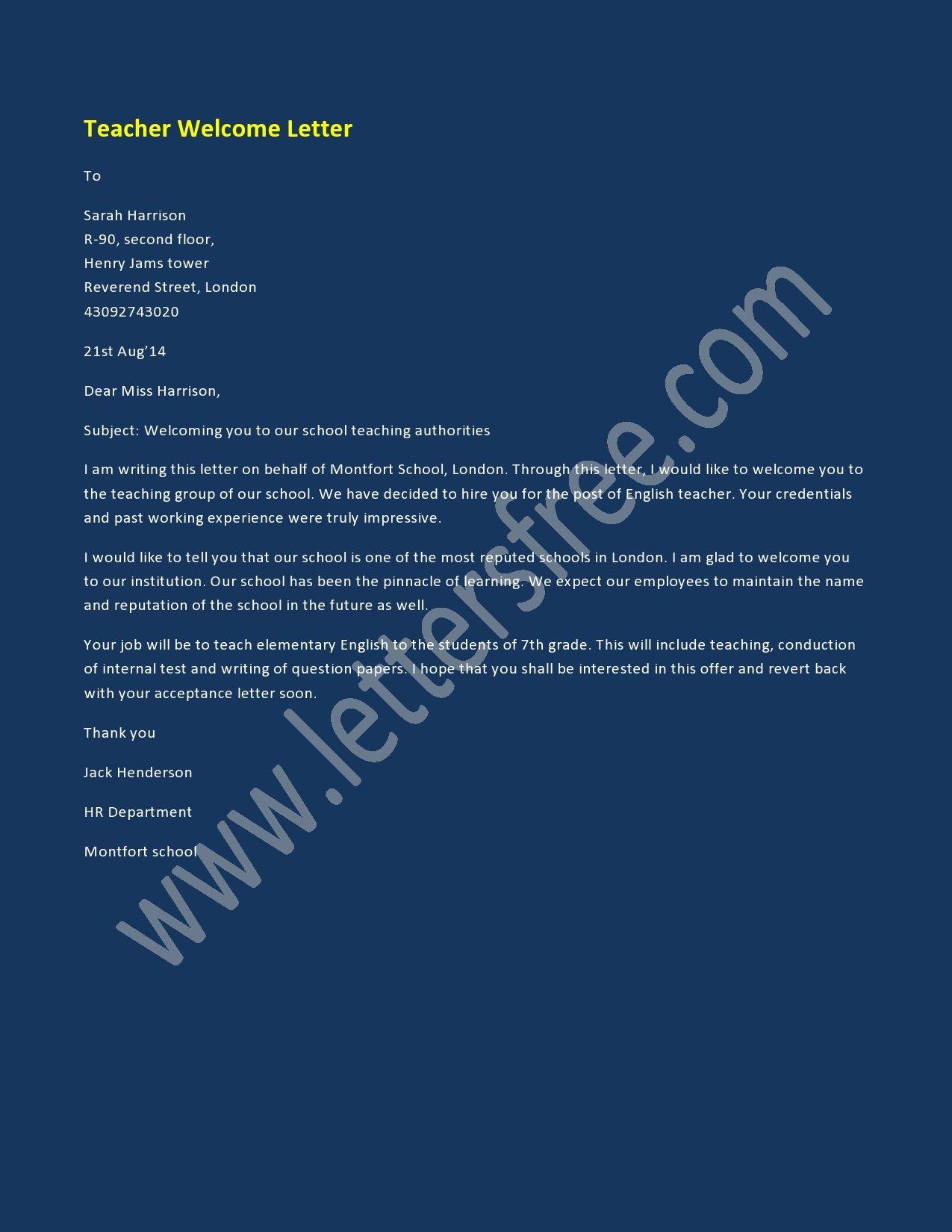 teacher welcome letter sample welcome letters pinterest rh pinterest com